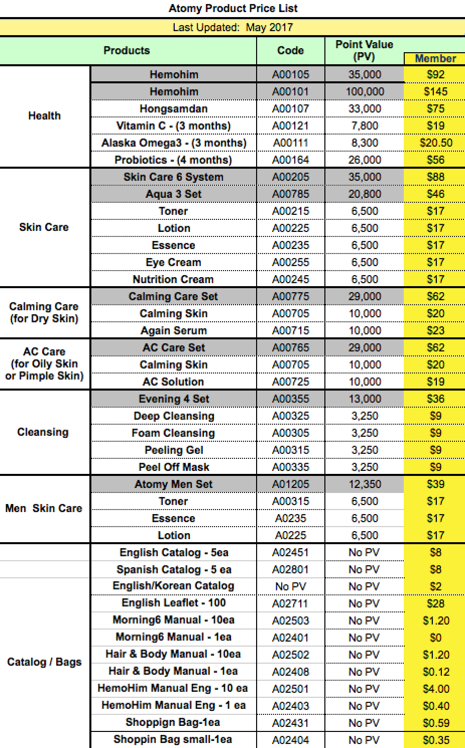 Atomy England Price List Atomysmart